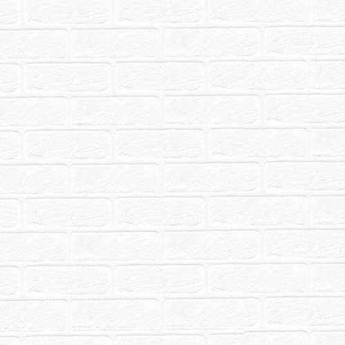 56 sq. ft. Paintable White Brick Textured Wallpaper