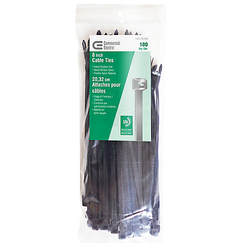 8-inch UV Cable Tie, Black (100-Pack)