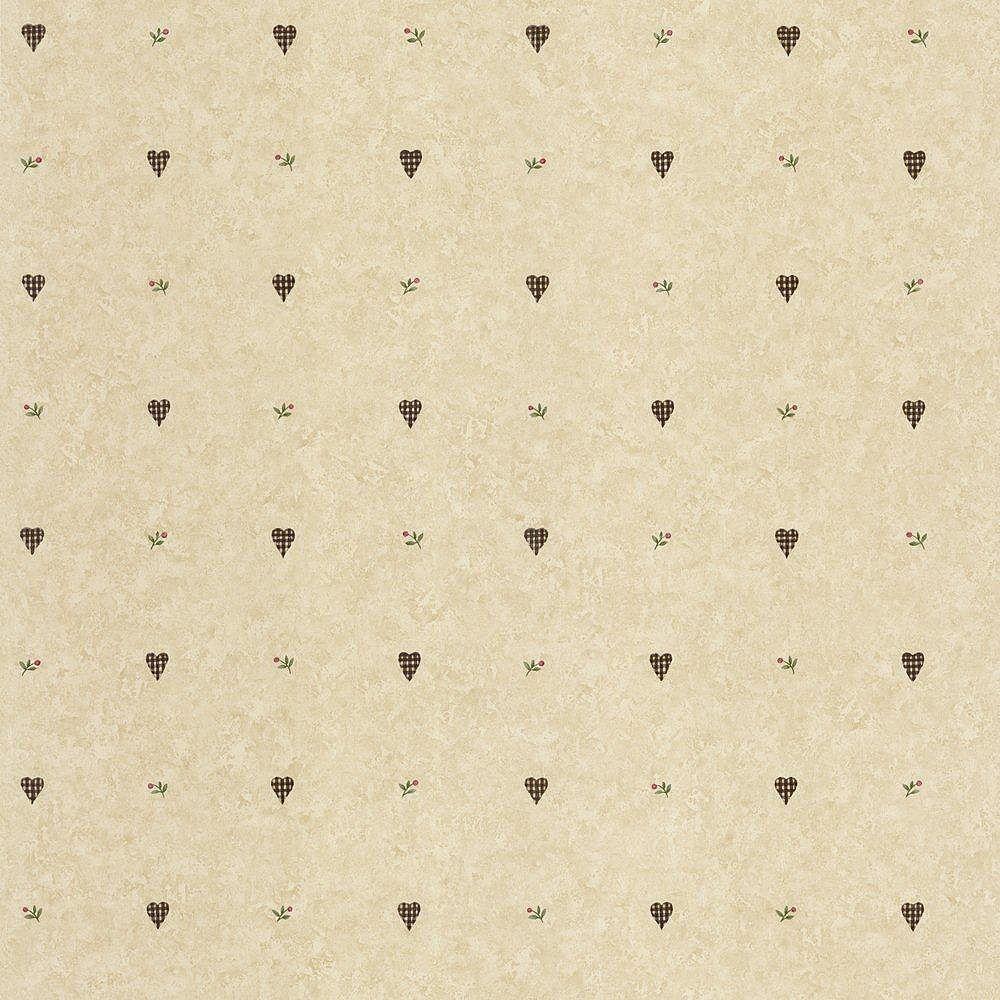 The Wallpaper Company 20.5 In. W Beige Gingham Hearts Wallpaper