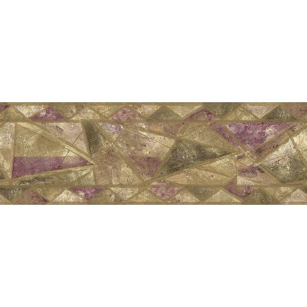 The Wallpaper Company 6.88 In. H Purple and Green Geometric Style Border