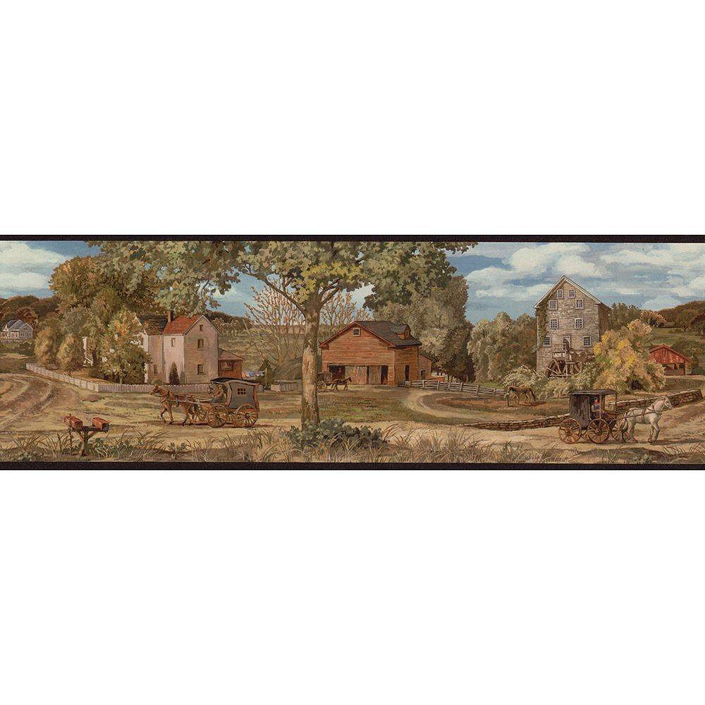 The Wallpaper Company 6.8 In. H Earth Tone Amish Scenic Border
