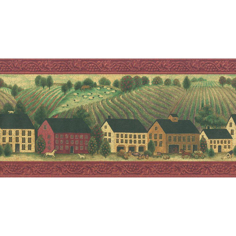 The Wallpaper Company 10.25 In. H Red Folk Country Scenic Border