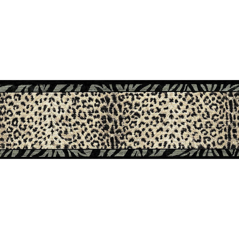 The Wallpaper Company 6.75 In. H Black and Beige Animal Print Border