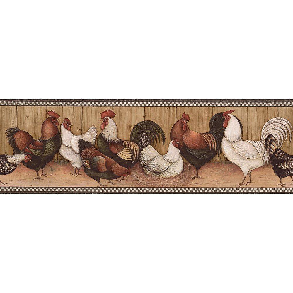The Wallpaper Company 6.75 In. H Black and Brown Rooster Border
