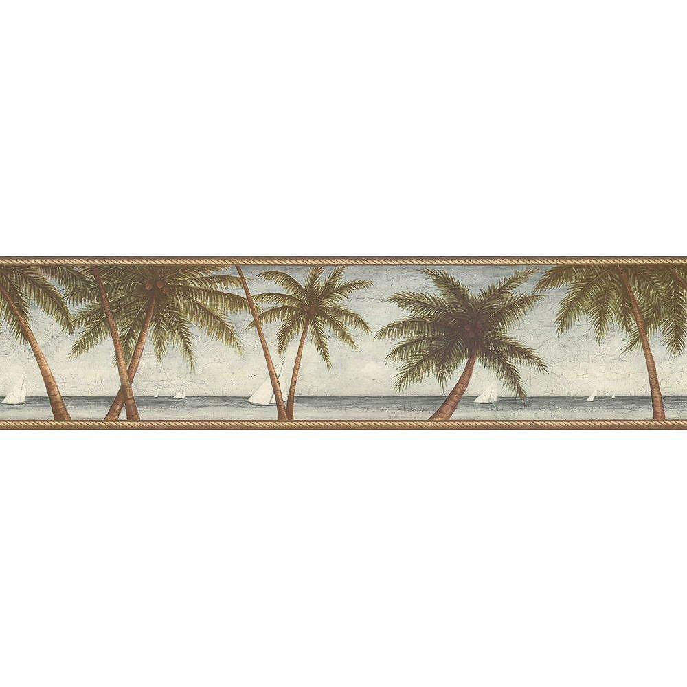 The Wallpaper Company 6.83 In. H Blue Scenic Palm Tree Border