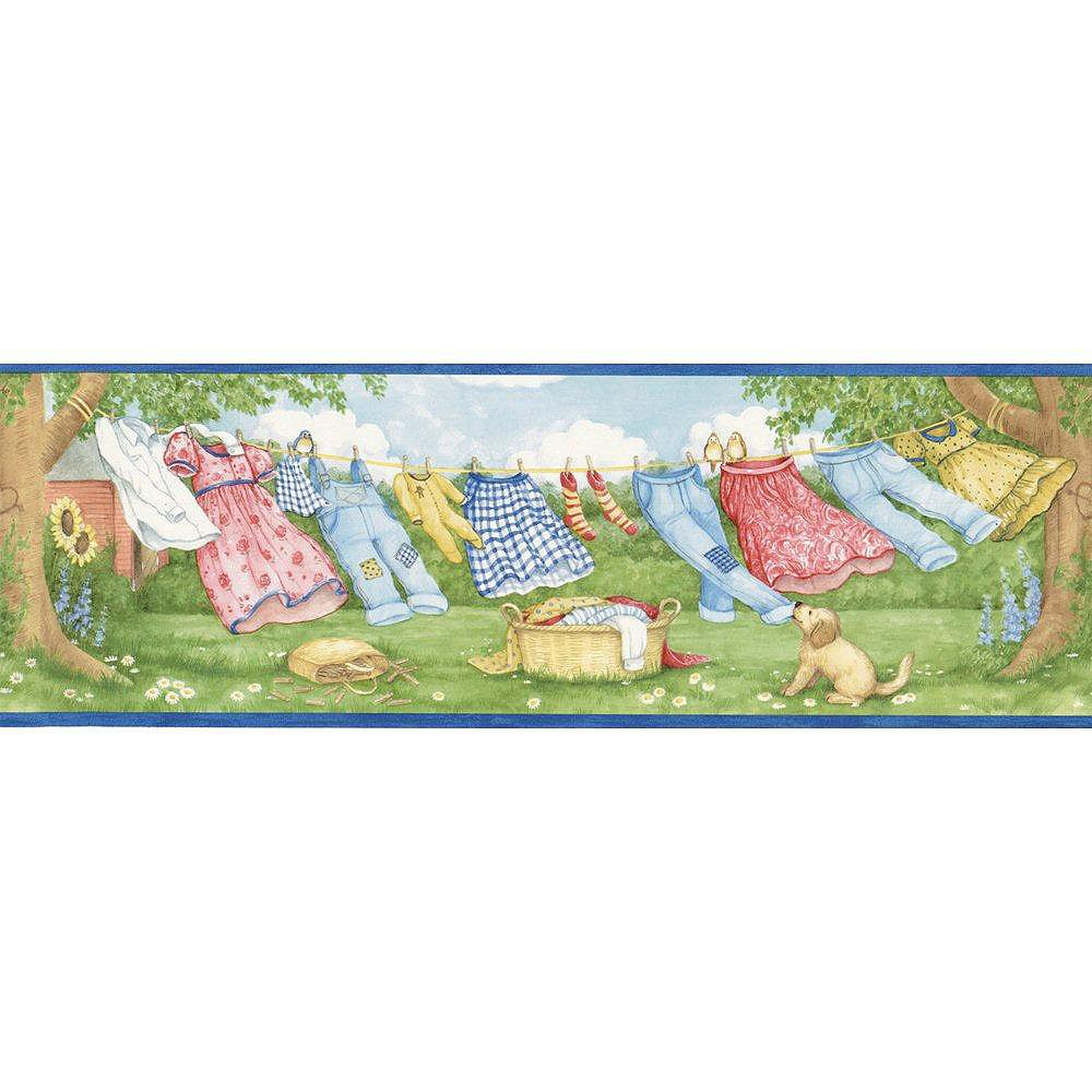 The Wallpaper Company 6.875 In. H Blue Laundry Breeze Border