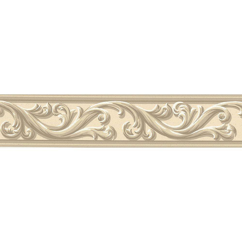 The Wallpaper Company 4.5 In. H Beige Architectural Scroll Border