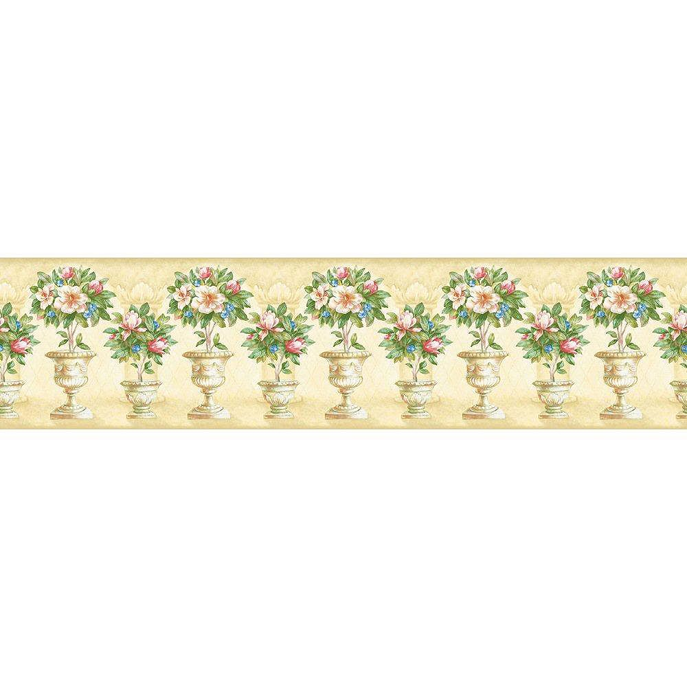 The Wallpaper Company 5.13 In. H Pastel Floral Topiary Border