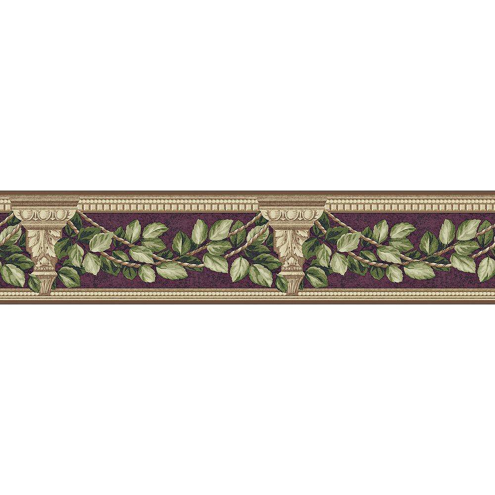 The Wallpaper Company 4.75 In. H Purple Architecture and Leaves Border