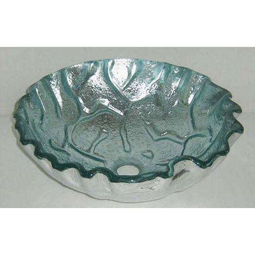 Glass Vessel Sink in Silver Foil Ripple