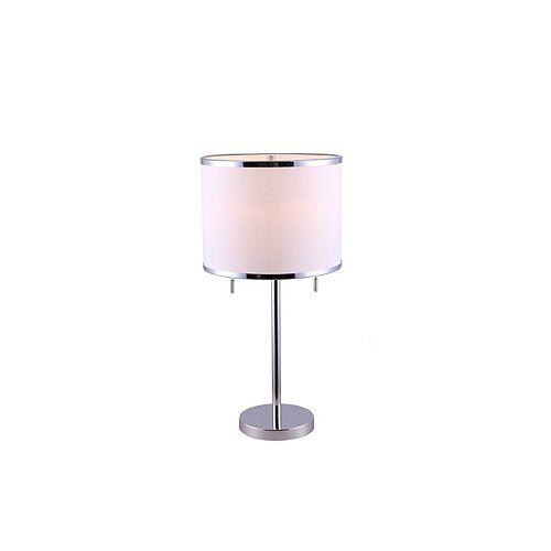 Lampe de table à 1ampoule avec diffuseur Hanson, chrome et tissu blanc