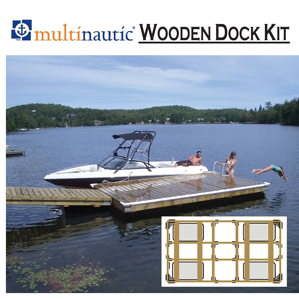 Multinautic Floating Dock Kit, Heavy Duty, for a 6 or 8 Foot Wide x 12 or 16 Foot Long Dock