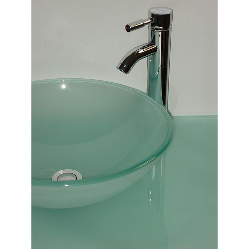 37-Inch W Frosted Glass Vanity Top