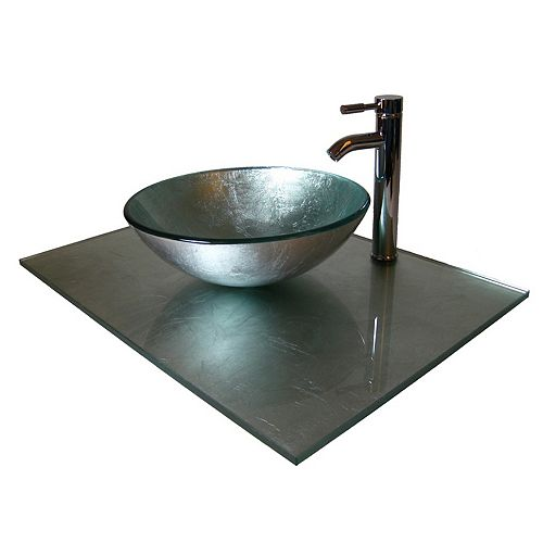 31-Inch W Glass Vanity Top in Silver Foil