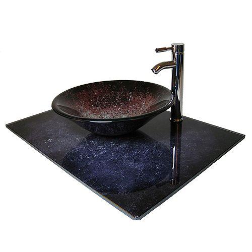 37-Inch W Volcano Glass Vanity Top