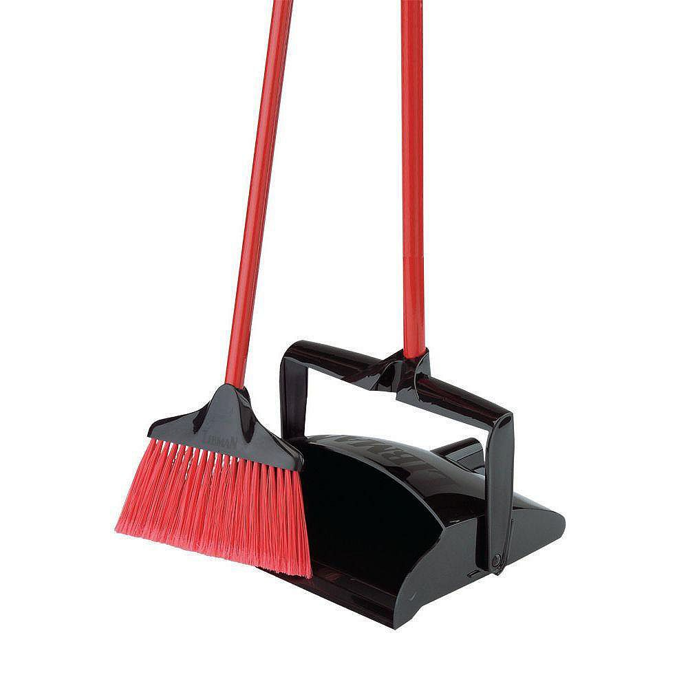 Libman Lobby Broom with Open Lid Dust Pan