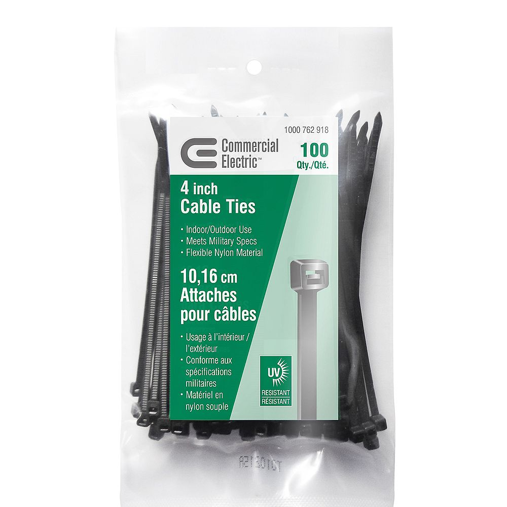 Commercial Electric 4-inch UV Cable Tie, Black (100-Pack)