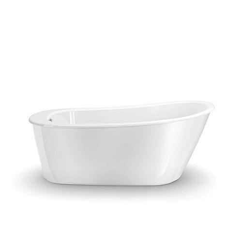 Sax 60L x 32W x 25H Oval FreeStanding AcrylX Bathtub End Drain in White with 14.75-inch Soaking Depth