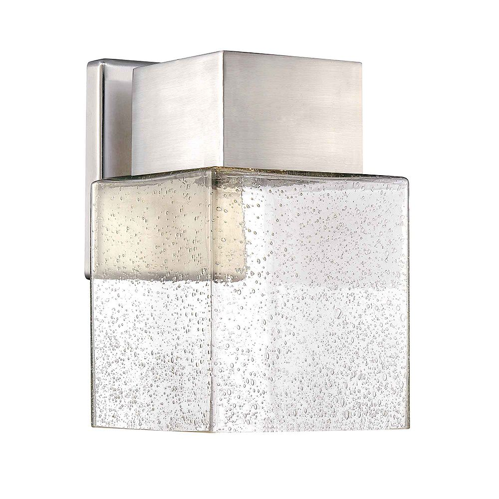 Hampton Bay 1-Light Brushed Nickel Integrated LED Outdoor Wall Lantern with Seedy Glass