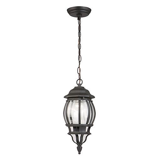 Luminaire suspendu d'extérieur Icaria noir, à une ampoule, 100W, diffuseur en verre biseauté