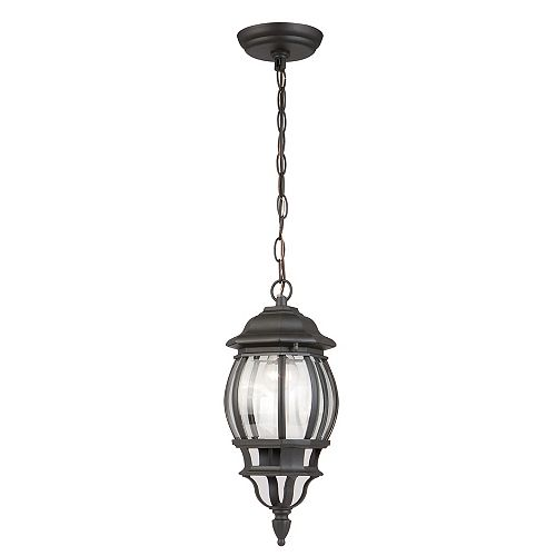 Hampton Bay Icaria 100W 1-Light Black Outdoor Hanging Lantern with Clear Bevelled Glass