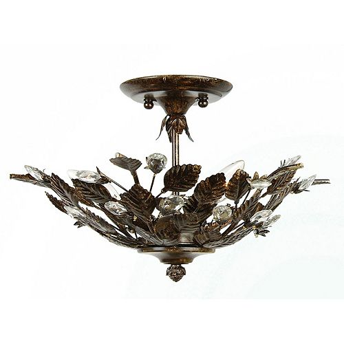 3 La Lumière Fixture Plafond Cristals Terminer