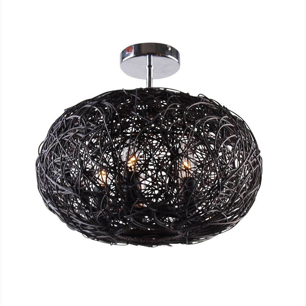 Illumine 5 Light Ceiling Fixture Black Finish
