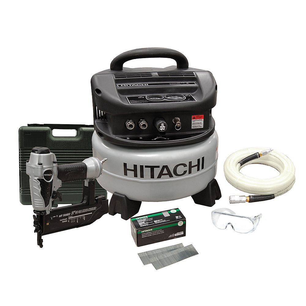 Hitachi Power Tools Ensemble Cloueuse de finition 18G et compresseur
