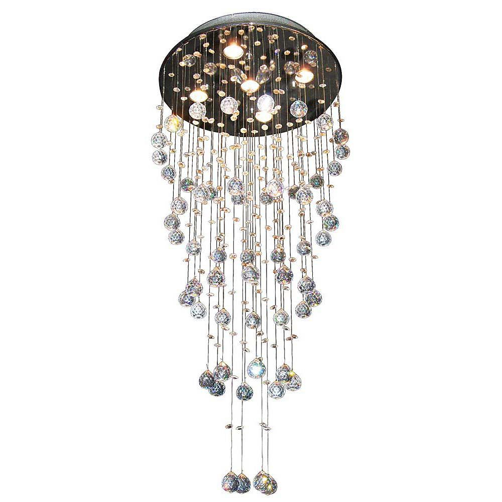 Illumine 5 Light Ceiling Fixture Crystal Drops