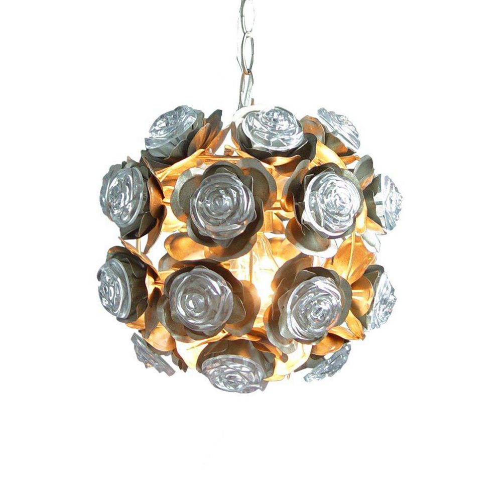 Illumine 1 Light Round Fixture With Rosettes Champagne Finish