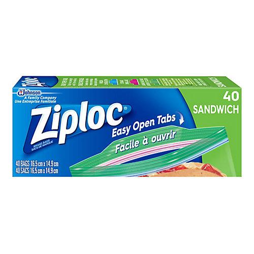 Sacs de Marque Ziploc<sup>®</sup> Sandwich 40ct