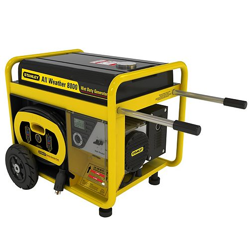 8000W All Weather Electric Start Generator with Removable Control Panel and 18hr Run Time