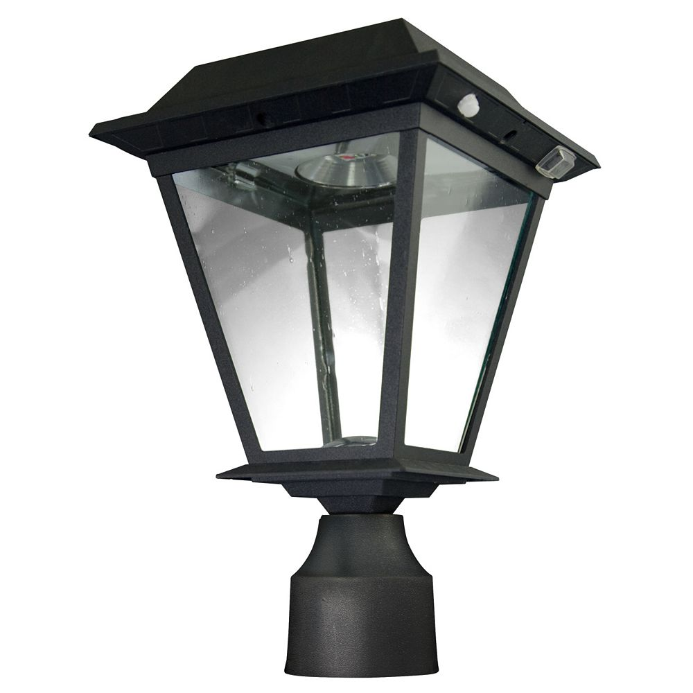 XEPA Wall/Deck/Post Mount Outdoor Black Motion Activated Solar Powered LED Lantern Head