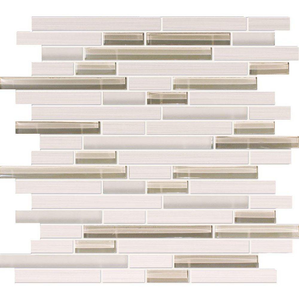 Modamo Waterfall Bamboo Oyster Porcelain Glass Linear Blend Mosaic
