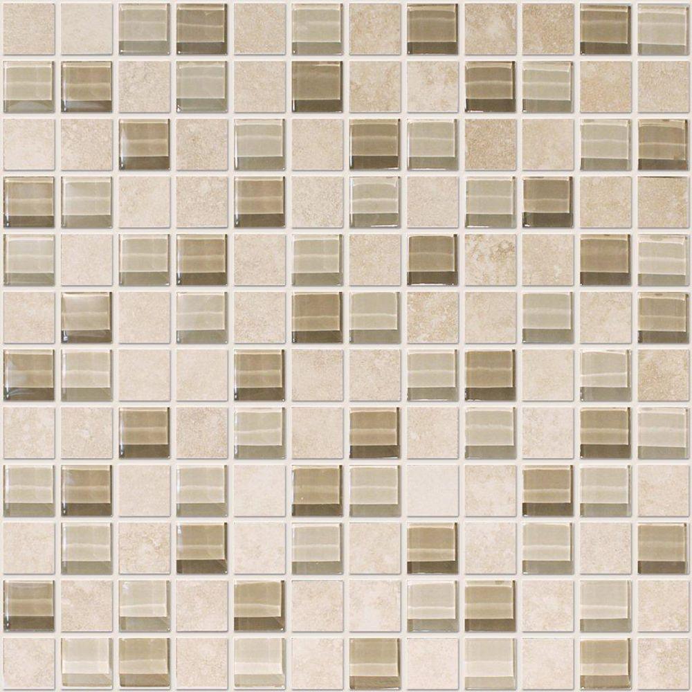 Modamo 1-inch x 1-inch Ceramic Glass Blend Mosaic Tile in Ivory