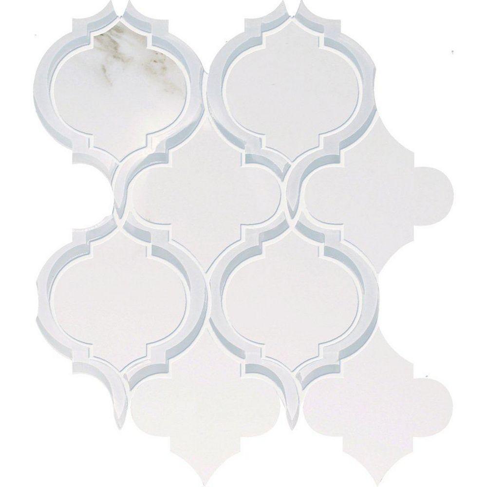 Modamo Waterjet Calacatta Porcelain Glass Blend Modern Curve Design - 10 inches x 12.25 inches