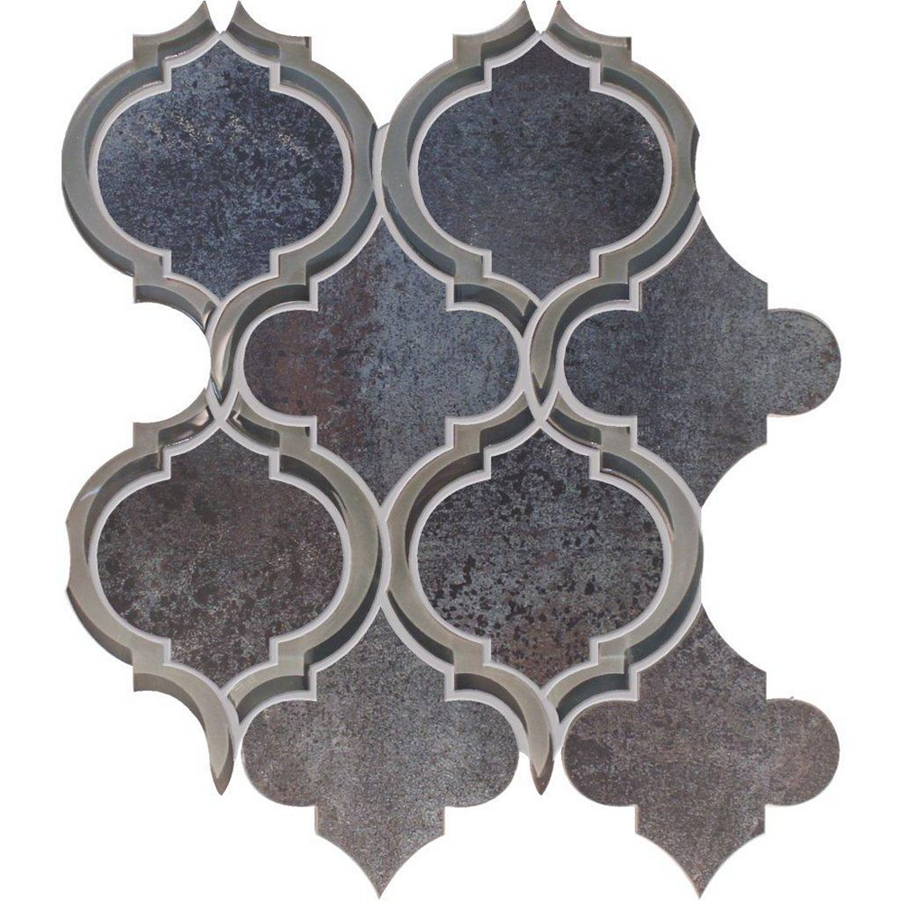 Modamo Mélange Waterjet aux courbes modernes de verre et porcelaine noir métallique - 30,48 cm x 30,48 cm (12 po x 12 po)