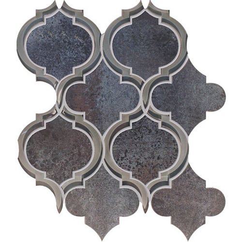 Mélange Waterjet aux courbes modernes de verre et porcelaine noir métallique - 30,48 cm x 30,48 cm (12 po x 12 po)