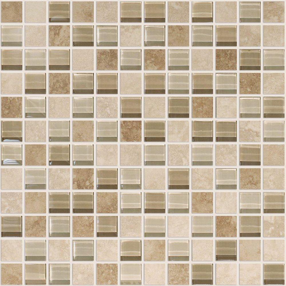 Modamo Noce Ceramic 1-inch x 1-inch Glass Blend Mosaic Tile in Ivory