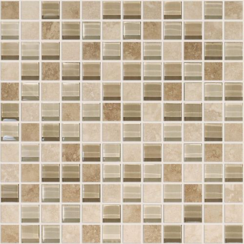 Modamo Noce Ceramic 1-inch x 1-inch Glass Blend Mosaic Tile in Ivory