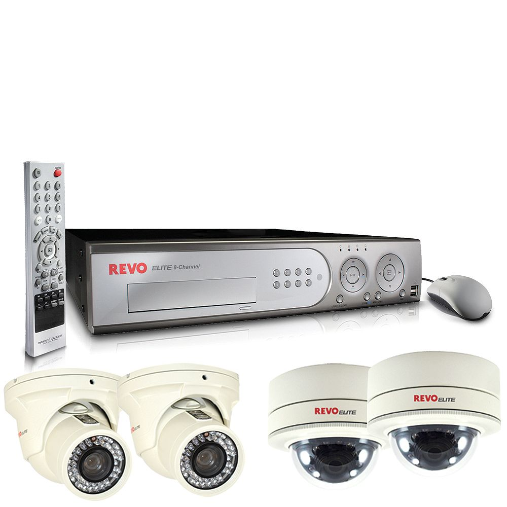 Revo America Elite 8CH 1TB DVR with 2 Turret Cameras and 2 Mini Vandal Proof Dome Cameras