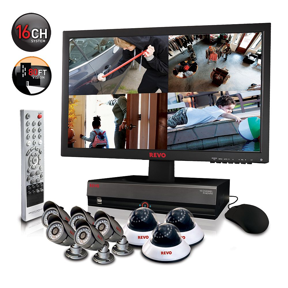 Revo America Security Surveillance System with 16 Channel 2TB DVR4, 21.5 Inch Monitor and (8)600TVL 80 Ft Nightvision Cameras