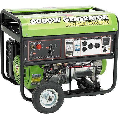6000 Watt 13HP Peak OHV Propane Powered Generator