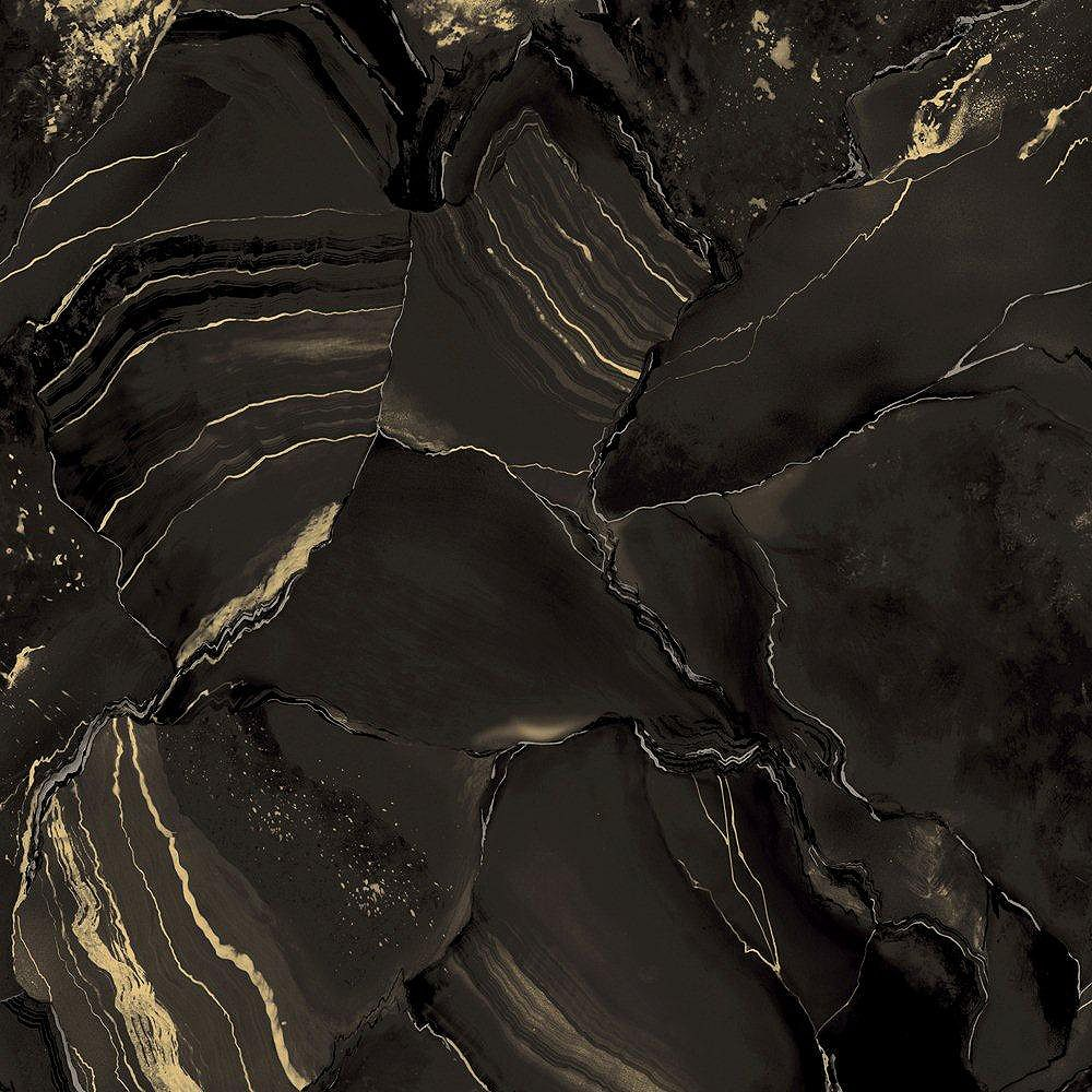 The Wallpaper Company 20.5 In. W Black and Gold Metallic Marble Wallpaper