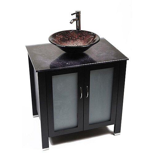 Waterhouse 31-Inch  Vanity Cabinet in Dark Wenge with Volcano Glass Top