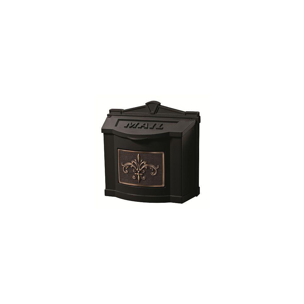 Gaines Manufacturing Wallmount Mailbox Black w/ Antique Bronze Fleur de Lis Accent