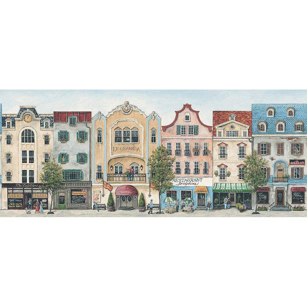 The Wallpaper Company 8.5 In. H Jewel Tone Main Street Border