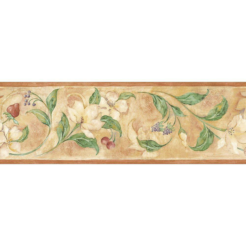The Wallpaper Company 6.83 In. H Tan Floral and Berry Scroll Border