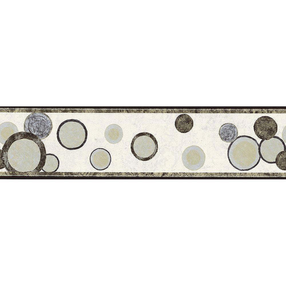 The Wallpaper Company 6.75 In. H Black, Gold and Silver Contemporary Circles Border