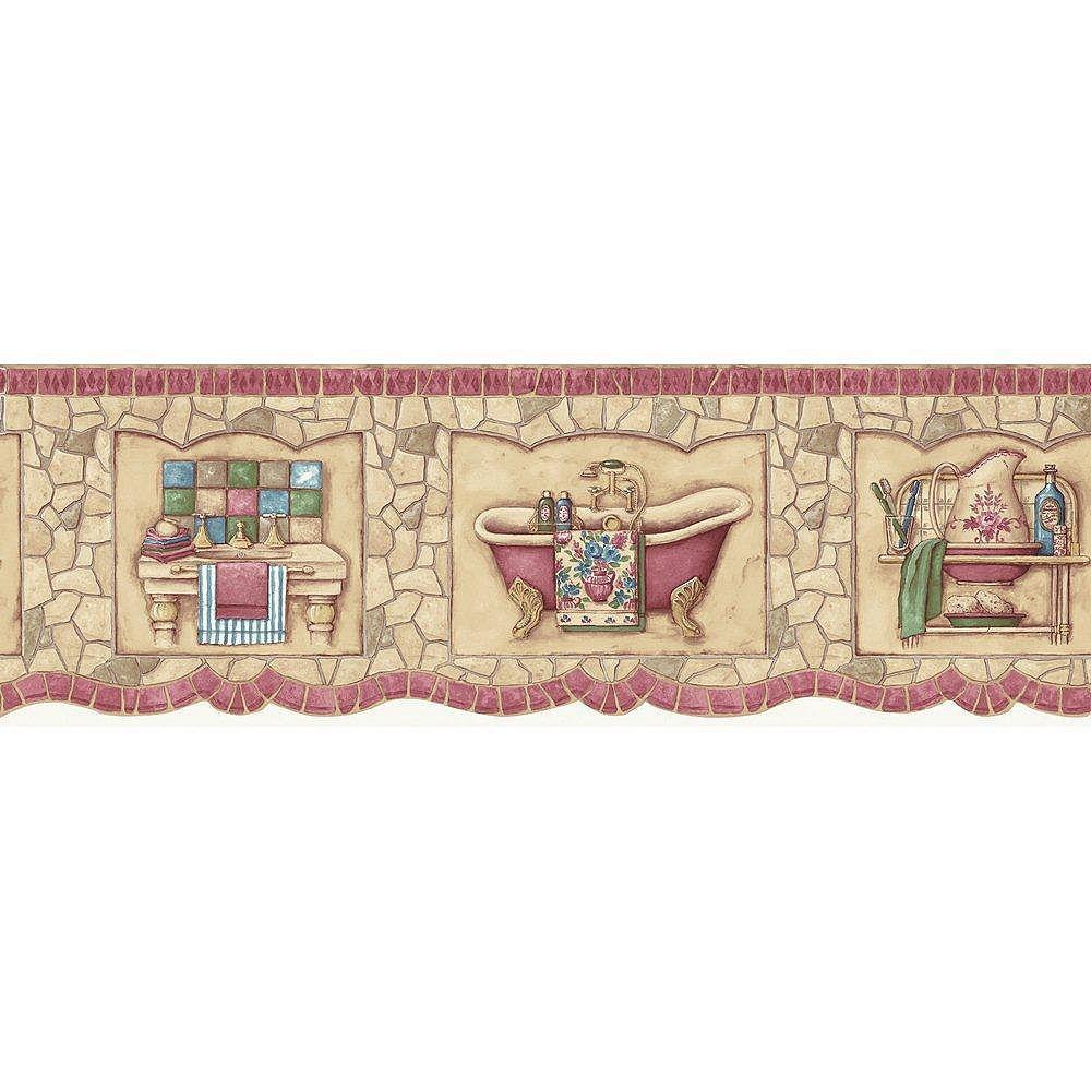 The Wallpaper Company 6.75 In. H Red Mosaic Bath Tub Border